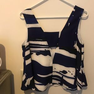 Nordstrom Tops - Blue and White A-Line V Neck and Low Back Tank Top